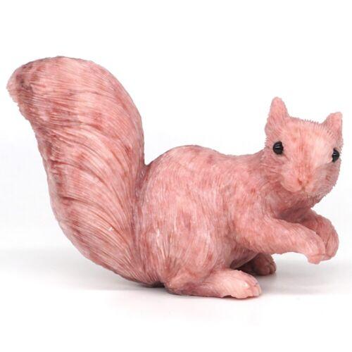 "4.8"" Squirrel Figurine Natural Gemstone Pink Opal Crystal Carved Crafts Decor"
