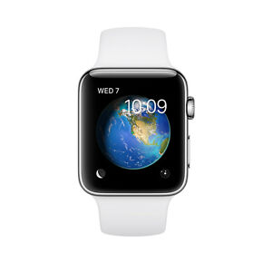 competitive price b0981 8bcd0 Apple Watch Series 2 38mm Stainless Steel Case White Sport Band -  (MNP42LL/A)