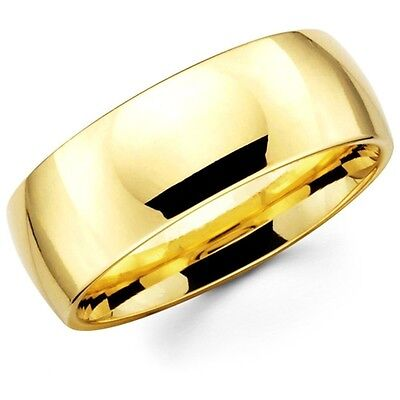 Mens Women Solid 14K Yellow Gold Plain Wedding Ring Band Comfort Fit 8MM Size 9