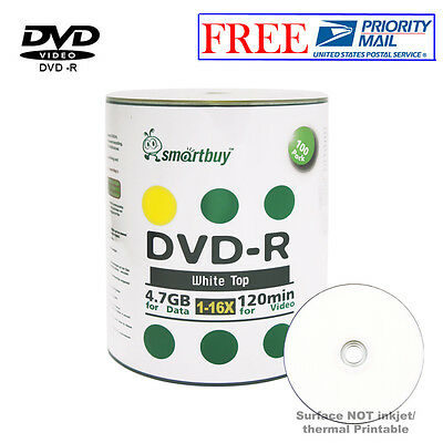 100-Pack Smartbuy Blank DVD-R DVDR 16X 4.7GB White Top Recordable Media Disc