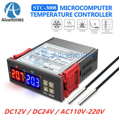 Stc-3008 12v24v 110-220v Dual Led Thermostat Temperature Controller With Probe