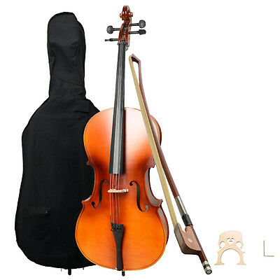 New Wood Color 4/4 Full Size Matt Acoustic Cello +Bag+Bow+Rosin+Bridge