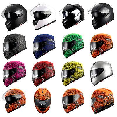Monsters Helmet (1Storm Motorcycle Full Face Helmet Dual Lens Sun Visor Matt Skull Monster)