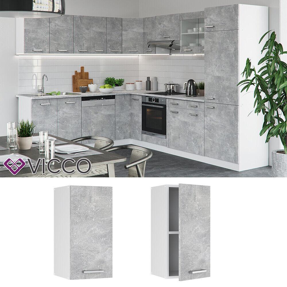 VICCO Küchenschrank Hängeschrank Unterschrank Küchenzeile R-Line Hängeschrank 40 cm beton