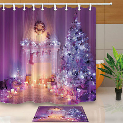 Purple Christmas Decor With Trees Waterproof Shower Curtain Plastic Hooks 71inch - Plastic Curtains