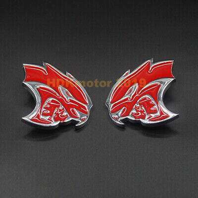 Pair Chromed Alloy Car Floor Mat&Carpet Logo Emblem Fits Dodge SRT Hellcat VIP