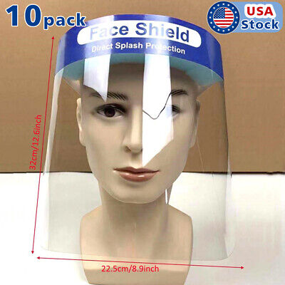 10 Pcs Safety Full Face Shield Reusable Washable Face Mask Clear Protection Cove
