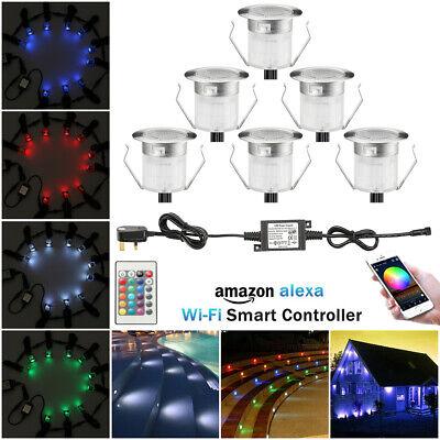 6 x 30mm RGB WIFI LED Waterproof 12V IP67 Path Light Deck Step Fence Yard Lamp