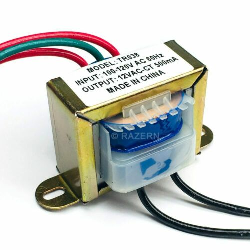 NEW Philmore 120VAC to 12VAC 500mA 0.5A Center Tap Power Transformer 6V-0-6V