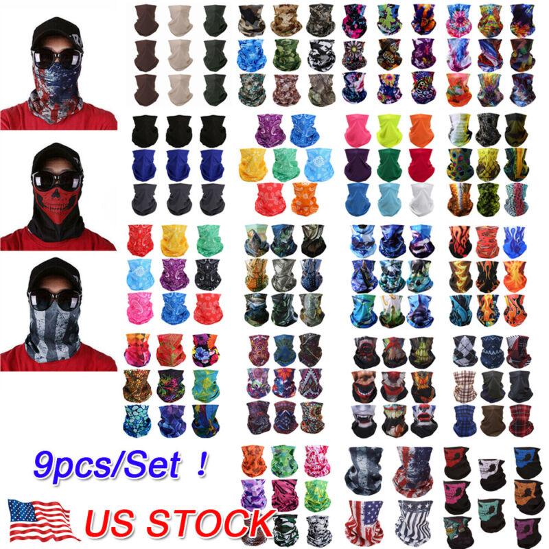 9PCS/Set Face Mask Sun Shield Neck Gaiter Balaclava Neckerchief Bandana Headband