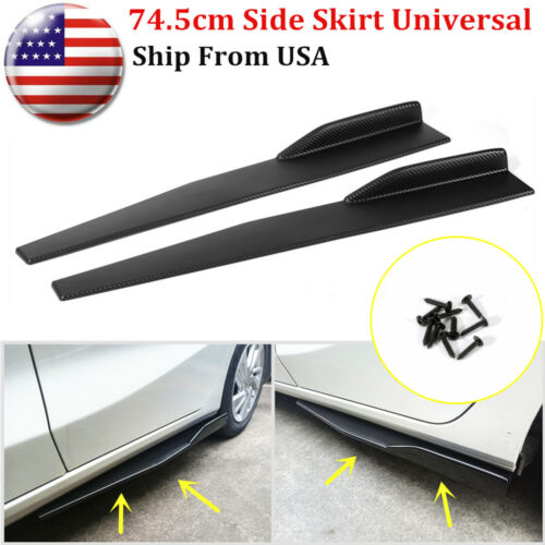 Car Parts - Pair 74.5cm Car Carbon Fiber Side Skirt Rocker Splitters Diffuser Winglet Wings