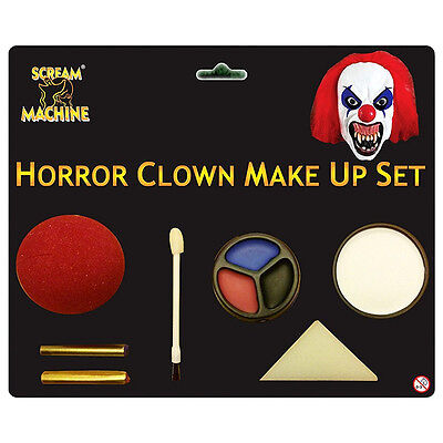 Horror Clown Halloween Fancy Dress Face Paint Make Up & Clown Nose Set