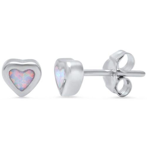 Cute White Opal Heart Stud .925 Sterling Silver Earrings
