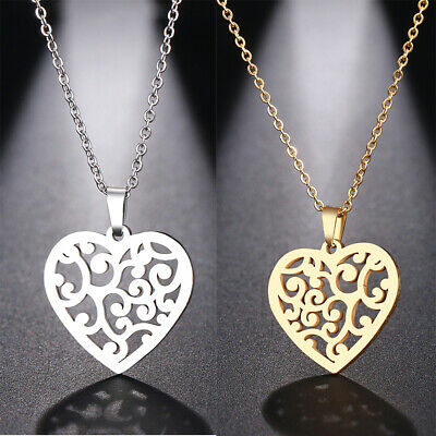Fashion Women Hollow Out Heart  Pendant Long Chain Sweater Necklace Jewelry Gift