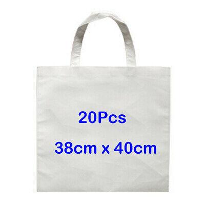 20pcs 38 X 40cm White Sublimation Blank Non-woven Shopping Bag Diy Heat Press
