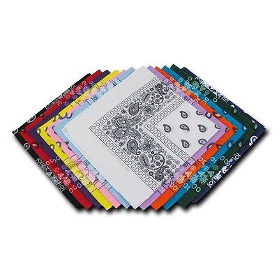 1 Dozen Pack Printed Bandanas 100% Cotton Cloth Scarf Wrap Washable
