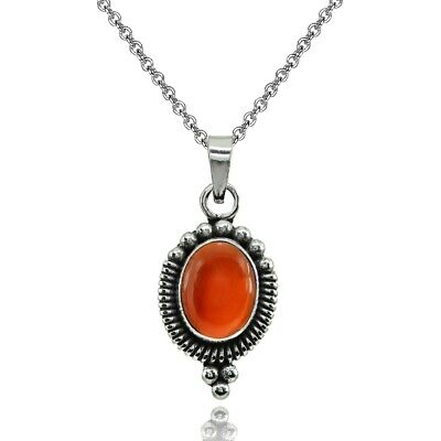 - Oval Simulated Carnelian Oxidized Bali Bead Pendant Necklace in Sterling Silver