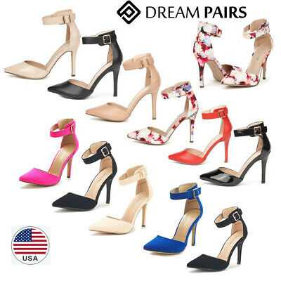 DREAM PAIRS Women's Pumps Ankle Strap Pointed Toe High Stile