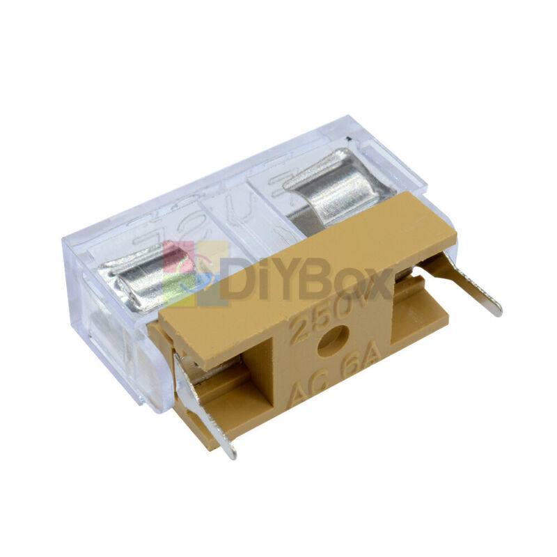 20pcs Panel Mount Pcb Fuse Holder Case With Cover Fit For 250v 6a 5x20mm Fuse