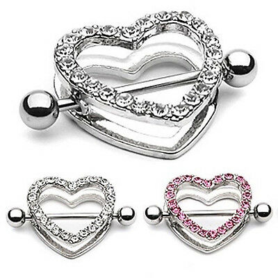 2pcs Body Piercing Rhinestone Heart Nipple Bar Barbell Ring Jewelry Best