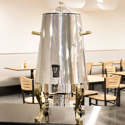 5 Gallon Deluxe Stainless Steel Coffee Chafer Urn Gold Accents Catering Buffet