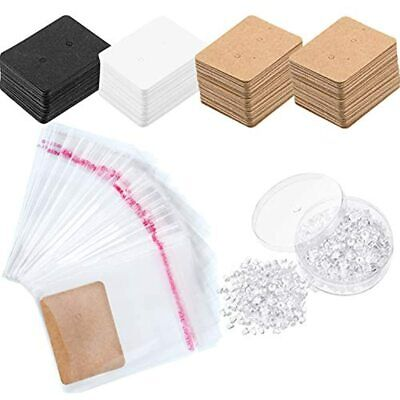 200 Pieces Earring Display Kraft Card Holder Self-seal Bags And 500 Silicone 2