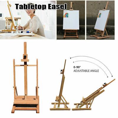Portable Artist Beech Metal Wood Easel Table Top Adjustable Art Painting H-Frame Metal Table Easel