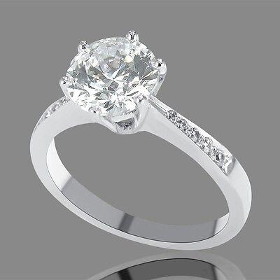 2 Carat F SI1 Diamond Engagement Ring Enhanced Round Cut 14K White Gold