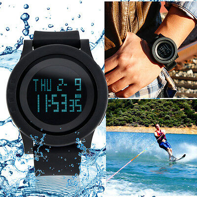 Fashion Men LED Digital Date Military Sport Rubber Quartz Wa