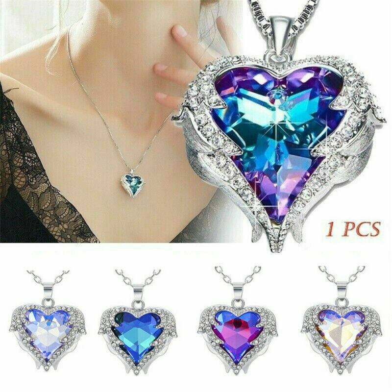 Jewellery - 925Silver Angel Wing Necklace Heart Rhinestone Crystal Chain Pendant Jewelry NEW