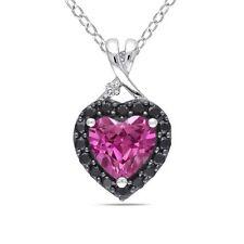 "Silver 1 7/8 CT TGW Sapphire Black Spinel & Diamond Heart Pendant Necklace 18"""