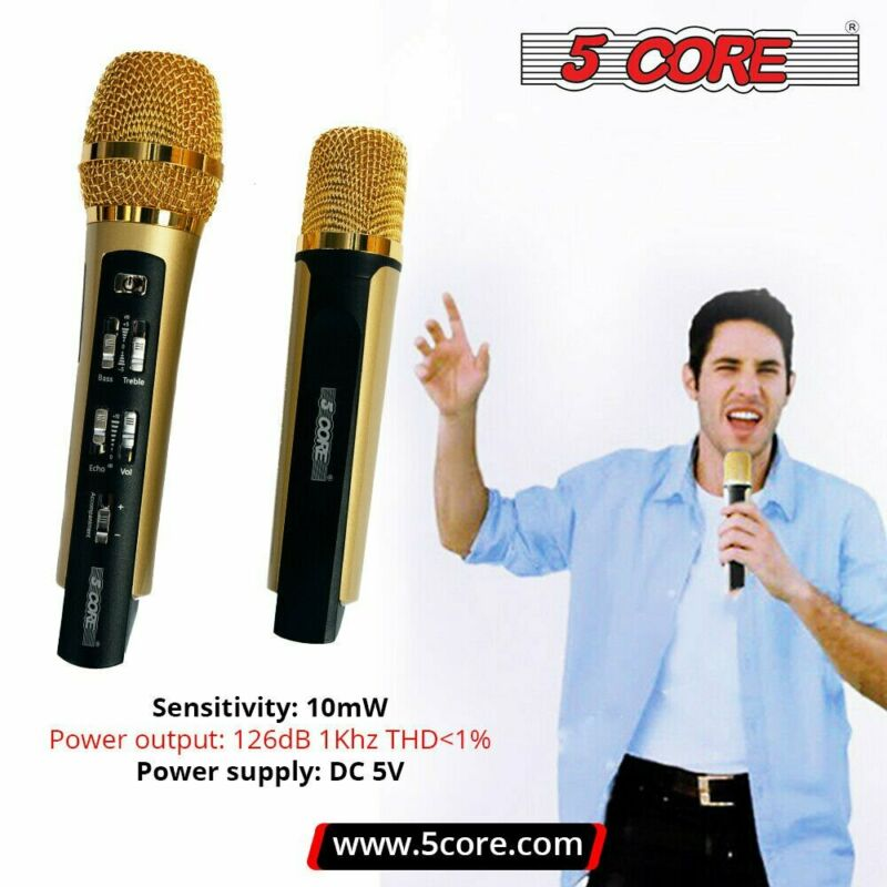 5Core Dual Neodymium Rechargeable AM/FM Wireless Karaoke Microphone Set for Duet