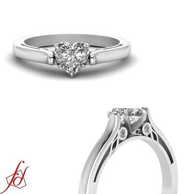 Cathedral Wedding Ring With 1/2 Ct Heart Shape Natural GIA Certified Diamond GIA