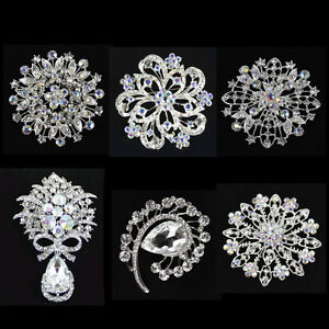 WHOLESALE LOT 6 PCS CLEAR  RHINESTONE SILVER BROOCH PIN  #BHMIX-CLS-1