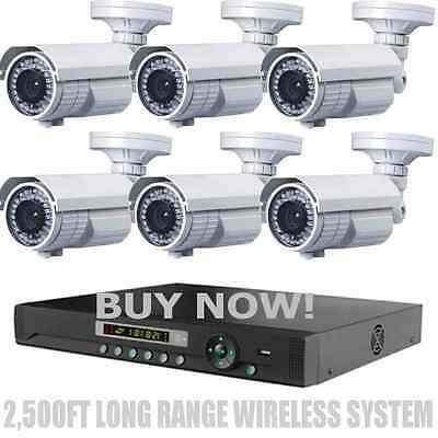 LONG RANGE WIRELESS 2,500Ft Night Vision 1200TVL Waterproof Security Cameras ()