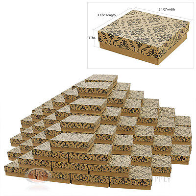 100 Damask Print Cotton Filled Jewelry Gift Boxes 3 12 X 3 12 Bracelet Box