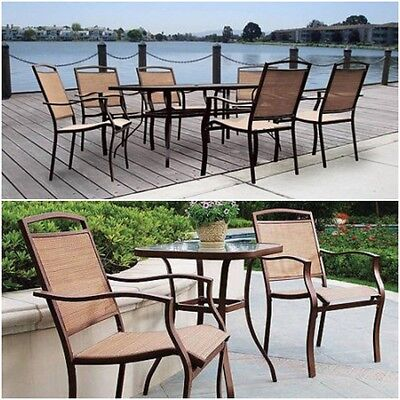 Patio Furniture Dining Set Glass Table Chairs Outdoor Backyard Deck Pool Tan NEW