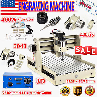 Cnc 4 Axis 3040t Engraver Router Engraving Cutter Carving Milling Drill Machine