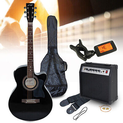 Johnny Brook Electro-Acoustic Guitar Black with 20W Amplifier Bag Tuner Strings