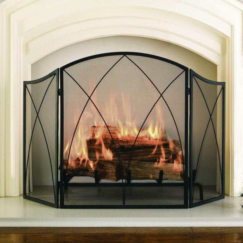 3 Panel Arched Fireplace Screen 48 X 30 in. Heavy Duty Steel