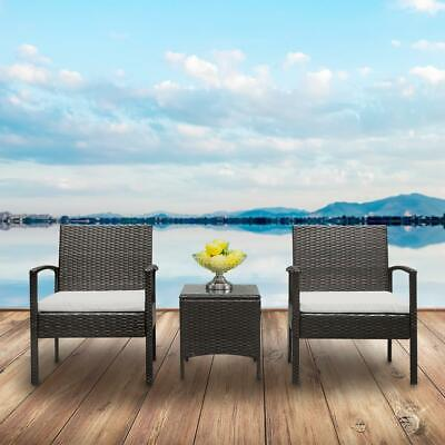 3 pcs Outdoor Patio Rattan Wicker Couch Sofa Glass Top Table