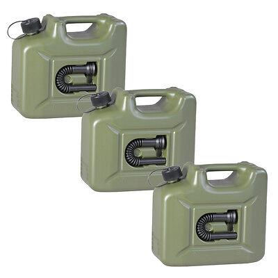 3er Set Benzinkanister 10L oliv NEU 3x ARMY Kraftstoff-Kanister Profi 10 Liter