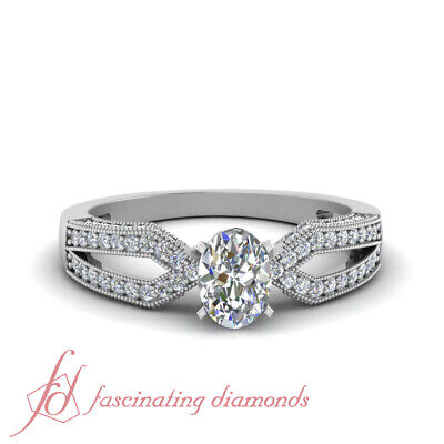 .65 Ct Oval Shaped Diamond Engagement Ring Pave Set With Milgrain 14K Gold GIA