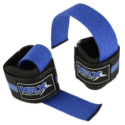 WEIGHT LIFTING BAR STRAPS GYM BODY BUILDING FITNESS WRIST SUPPORT BANDAGE BLUE