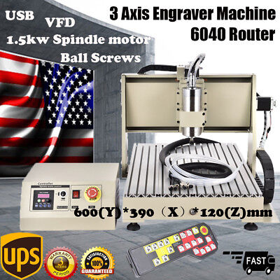 Usb 3 Axis Cnc 6040 Router Engraver Milling Carving 1.5kw Vfd Cut Controller