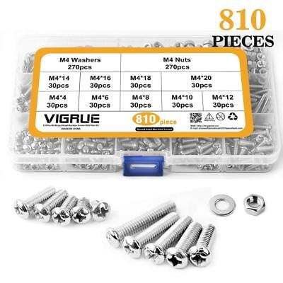 Locking Steel Bolts - M4 Stainless Steel Phillips Pan Head Screws Set Bolts Nuts Lock Flat Washers 810