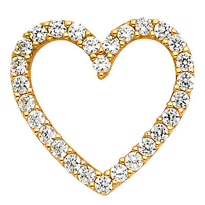0.25 Ct Diamond Necklace (14k Yellow Gold 0.25 Ct Diamond Open Heart Pendant for Necklace 5/8
