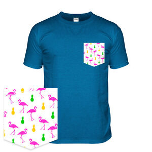 Flamingo t shirt with a pattern pocket 80s miami tshirt for T shirt printing in miami