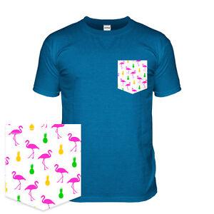 Flamingo t shirt with a pattern pocket 80s miami tshirt for T shirt printing miami fl