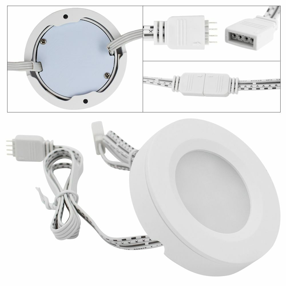 Getinlight Led Puck Lights Kit: RGBWW LED Under Cabinet Lighting Kit-3pcs 2Watt LED Puck